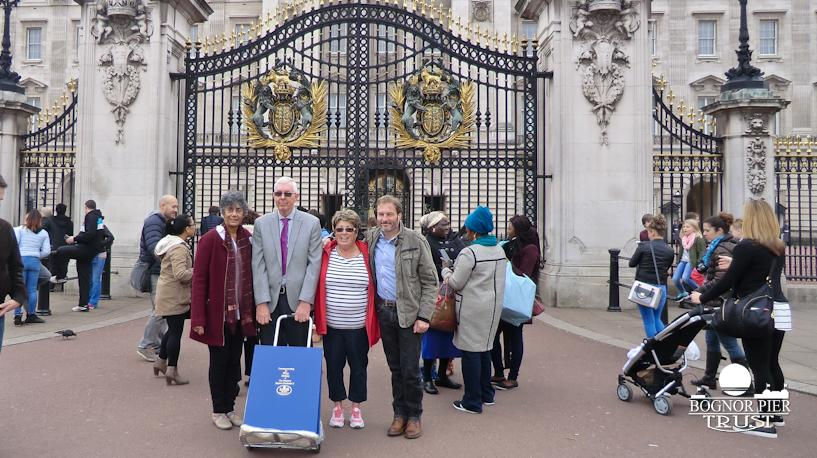 Outside the gates of Buckingham Palace